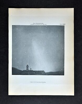 1894 Muller Celestial Map - Morning Zodiacal Light in Freiburg Germany in 1846