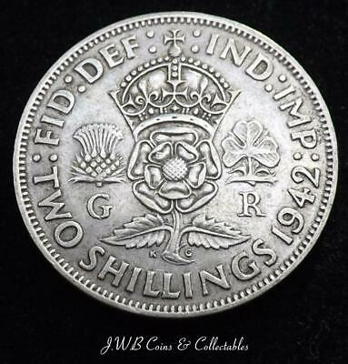 1942 George VI Silver Florin / Two Shillings Coin - Great Britain.