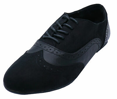 Ladies Flat Black Lace-Up Brogue Pumps Dolly Smart Work Casual Comfy Shoes 3-8