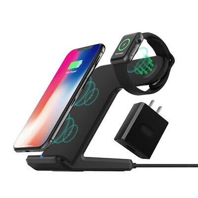 10W 2in1 Qi Wireless Charger Dock Stand For Apple Watch 4/3/2/1 iPhone XR XS Max