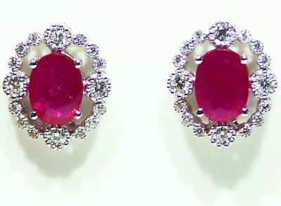 2.52CT 14K Gold Natural Ruby Diamond Halo Stud Engagement Earrings Vintage Retro