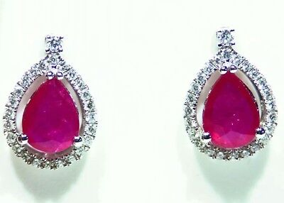 2.29CT 14K Gold Natural Ruby Diamond Halo Stud Engagement Earrings Vintage Retro