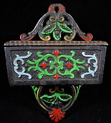 Vintage Cast Iron Match Safe Holder with Lid and Striker on Bottom Tole Painted