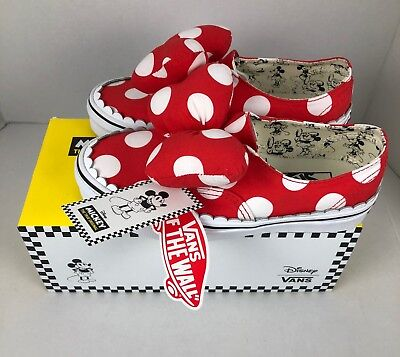 VANS DISNEY Women s VN0A38ETUJ3  AUTHENTIC GORE MINNIE  BOW Red SHOES - 5 0be908fb6