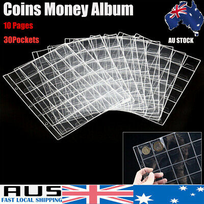 10pcs 30 Pockets Coin Holders Album Plastic Sheets Collection Storage Money Page