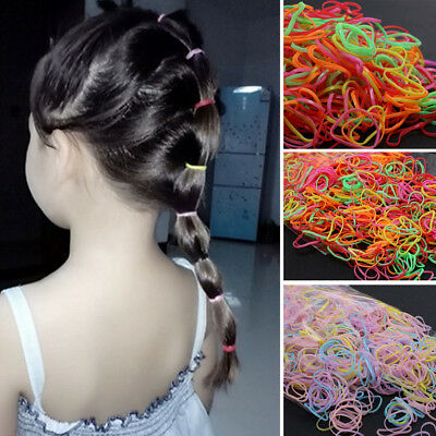 1000pcs Rubber Hairband Silicone Ponytail Holder Rope Elastic Hair Accessories C