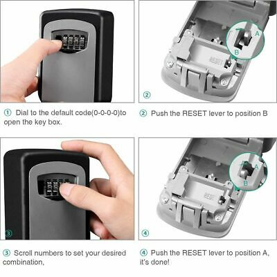 GESMART 4 Digit Outdoor High Security Wall Mounted Key Safe Box Storage Box