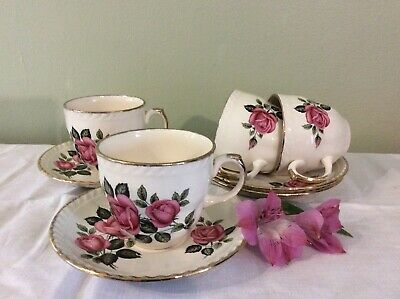 Very Pretty Vintage Pink Rose Design Patterned Tea Set For Four Vgc