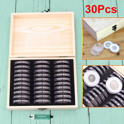17mm-41mm 30PCS Round Coins Holders Storage Container Display Cases Wooden Box