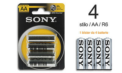 ds Confezione 4 Pile Batterie Sony New Ultra AA Sum3 R6 1.5V Stilo hsb
