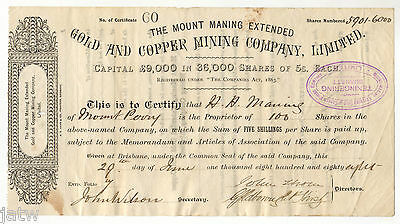 Share Scrip -  Mining. 1888 Mount Maning Extended Gold & Copper Mining Co (Qld)