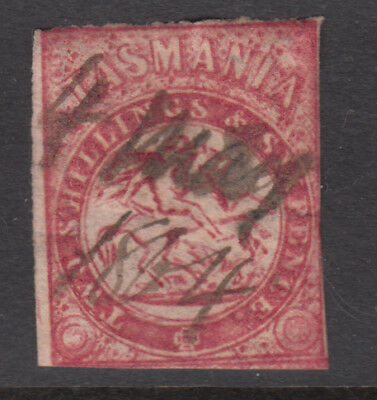 TASMANIA 1860-80's 2/6 St George REVENUE Pen Cancel (a17)