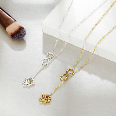 2019 Fashion Jewelry Womens Creative Chain Sliver Pendant Necklace Lotus Charm