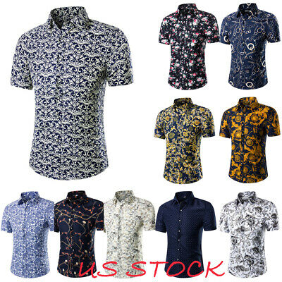 034b1b8df88e Mens Hawaiian Shirt Summer Short Sleeve Button Down Tops Beach Holiday  Blouse US