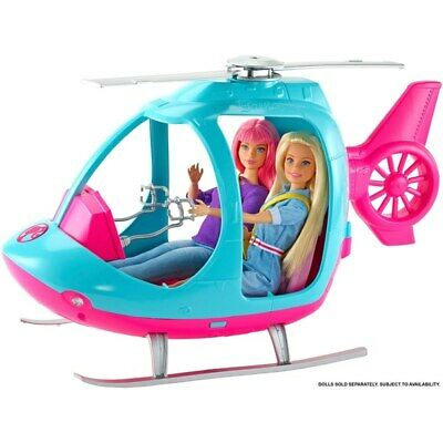 Barbie Travel Helicopter Toy Playset Gift Girls Vehicle Pink Accessories New UK