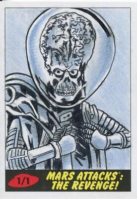 Mars Attacks The Revenge Sketch Card By Todd Aaron Smith