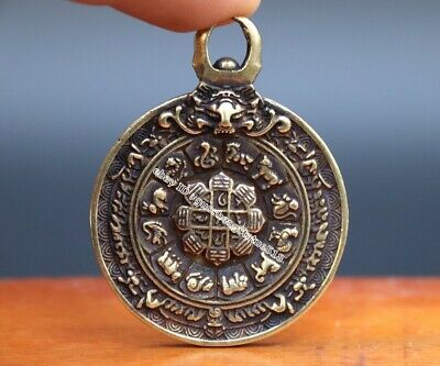 Antiques Antique China Copper Buddha Coin Pendant Buddhism Kwan Yin Eight Trigrams Amulet