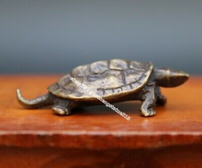 5 CM Chinese Pure Bronze Copper Handwork Fengshui Animal Tortoise Turtle Statue
