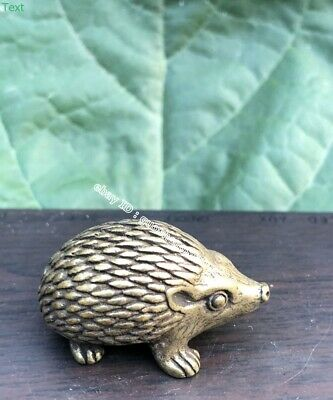 3.5 CM Chinese Pure Bronze Copper Handwork life-like Animal hedgehog sculpture
