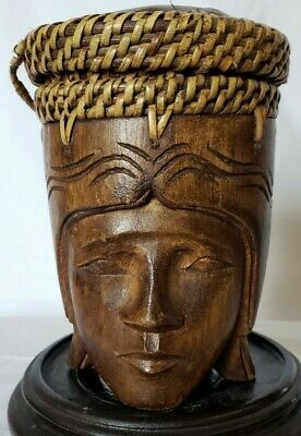 Indonesian Handcarved Decorative Face of Man Wooden Box with Lid. Pre-owned.