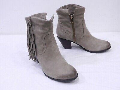 98bd894d8abea1 Sam Edelman Louie Womens 9.5 Taupe Brown Leather Fringe Side Zip Ankle Boots