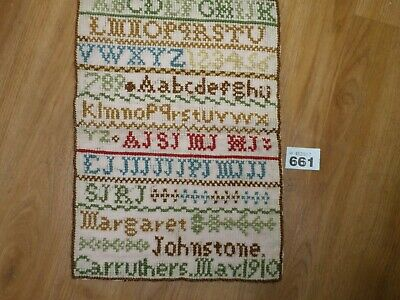 Antique Sampler 1910 Carruthers Alphabet