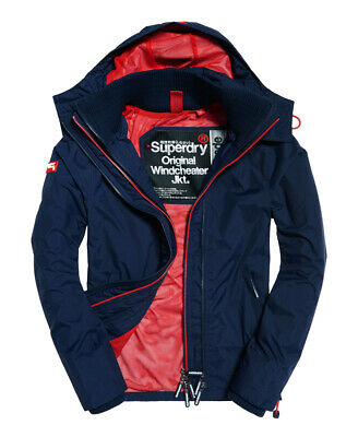 New Mens Superdry Pop Zip Hooded Technical SD-Windcheater Jacket Nautical Navy
