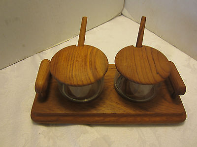 "Mid century SOLID TEAK CONDIMENT 7 Pc. SET GLASS JARS W LIDS TRAY SPOONS 7 7/8""W"
