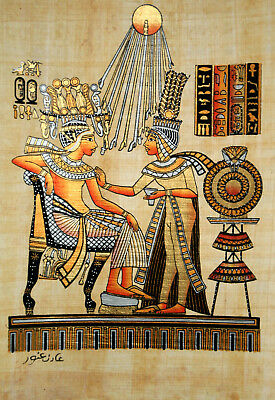 """Egyptian Papyrus - Hand Painted - 9"""" x 13"""" Ancient Art- King Tut / Golden Throne"""