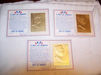 3 Vintage French Postcards General De Gualle Stamped Cancellation 1971 Gold 24K