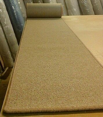 100% WOOL WHIPPED FEATURE STAIR RUNNER 50cm x 9.80metres BOUCLE LOOP PILE
