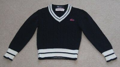 Vintage IZOD Lacoste V Neck Sweater Child Size 4 Long Sleeve Acrylic Excellent