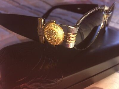 Authentic Vintage Gianni Versace Sunglasses Gold Medusa   In New Case