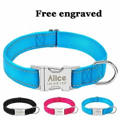Nylon Personalised Dog Collar Cat Pet Name Tags Engrave Custom Heavy Duty S M L