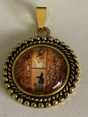 Big Sale-HAND-CRAFTED PHARAOH W/ GOD UPUAUT PENDANT UNDER CRYSTAL#7-gold tone