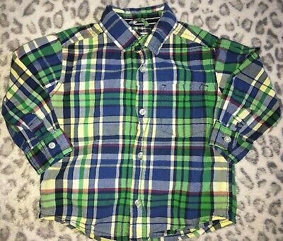 Boys 12-18 Months Childrens Place Blue Red White  Plaid Shirt Top Collar Button