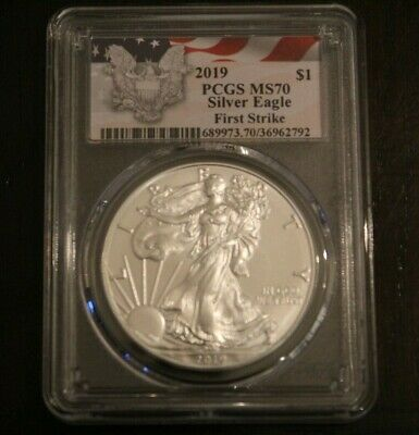 2019 American Silver Eagle  PCGS MS70  First Strike Red Flag Label!!!!