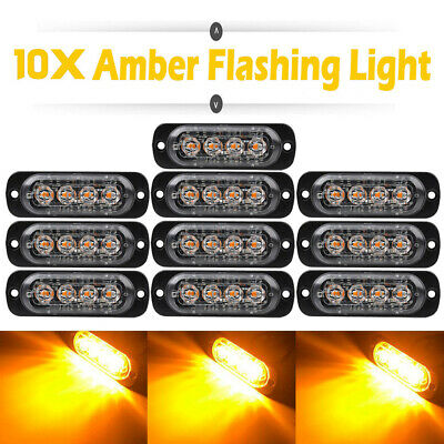 10 Amber LED Car Truck Emergency Beacon Warning Hazard Flashing Strobe Light Bar