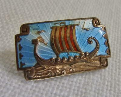 Vntg Sterling & Enamel Viking Ship Pin, Andresen & Scheinpflug-Norway, Bronzeton