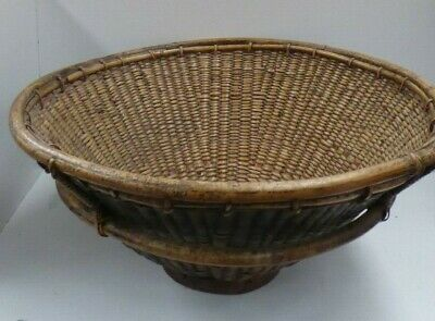 Antique Japanese Woven Cane Rice Basket Bowl