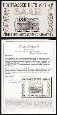 SAAR 1948 Flood Airmail S/Sheet GENUINE USED cat US$4500. + CERTIFICATE! GERMANY