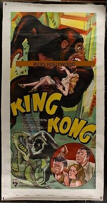 """Original Hand Painted KING KONG 3 Sheet 49"""" X 94"""" AWESOME RE-CREATION"""
