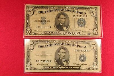 Two US Currency $5 Silver Certificate Series 1934A & Series 1953A