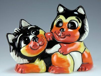 Lorna Bailey THE PLAYFUL PAIR CATS GOLD SIGNED COLOURWAY PROTOTYPE