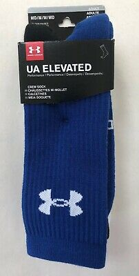 NWT 3 Pair Under Armour Men's MD Elevated Crew Socks Blue WHT BLK New Men Medium