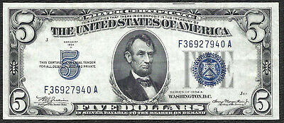 1934A $5 BLUE Seal SILVER Certificate! Old US Paper Money!