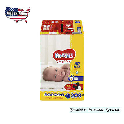 HUGGIES SNUG & DRY Baby Diapers Size 1,208 Count Giant Pack