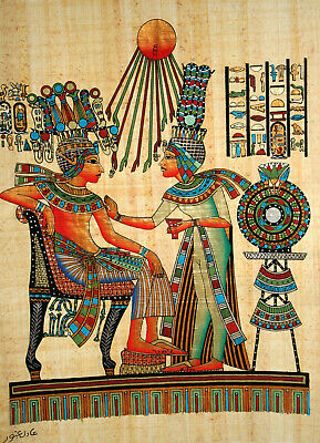 """Egyptian Papyrus - Hand Painted- 12"""" x 16"""" Ancient Art- King Tut / Golden Throne"""