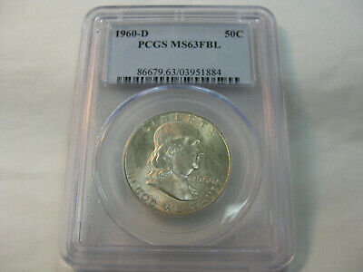 1960 D  50C  FRANKLIN SILVER HALF DOLLAR GRADED PCGS MS63 FBL (Full Bell Lines )