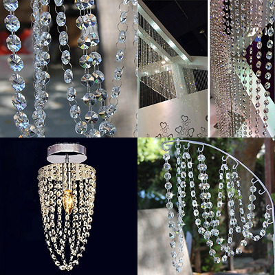 10 Ft Crystal Beads Chain Garland Of Clear Chandelier Bead Lamp FREE SHIPPING